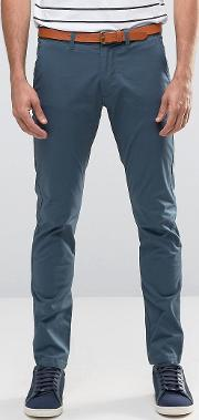 slim fit chino with stretch and leather belt