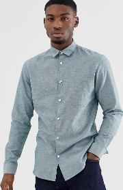 Slim Fit Linen Mix Shirt Light Green