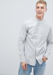 Slim Fit Mandarin Collar Shirt With Faint Stripe
