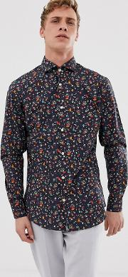 Slim Shirt With All Over Bird Print Natural Stretch Cotton