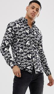 Slim Shirt With All Over Print