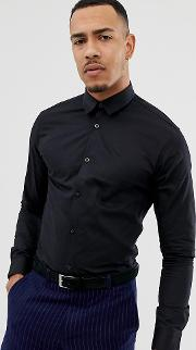 Slim Shirt With Tipped Collar