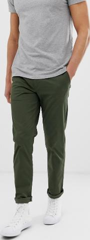 Straight Fit Stretch Chinos Khaki