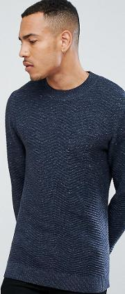 tall knitted high neck jumper with texture detail in 100 cotton