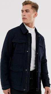 Wool Field Jacket With Patch Pockets