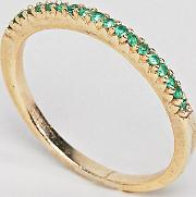 18k gold pave emerald crystal ring
