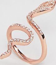 sterling silver 18k rose gold plated large snake pave ring