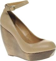 Shellys Caramel Wooden Wedge With Ankle Strap