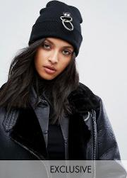 ribbed beanie with piercing ring detail