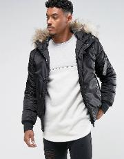 Bomber Jacket In Black With Faux Fur Hood