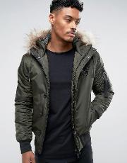 Bomber Jacket In Khaki With Faux Fur Hood