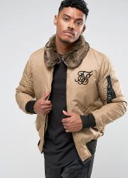 Bomber Jacket In Stone With Borg Collar