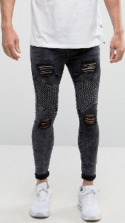 muscle fit biker jeans with distressing