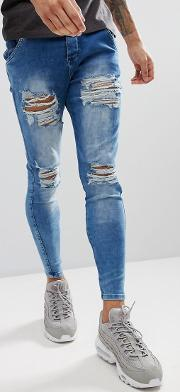 muscle fit jeans in acid blue with distressing