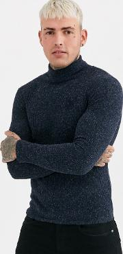 Muscle Fit Knitted Roll Neck Jumper