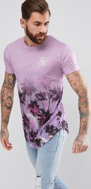 muscle t shirt in pink with palm print