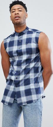 sleeveless muscle shirt in blue check exclusive to asos