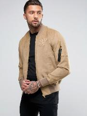 suedette bomber jacket in stone