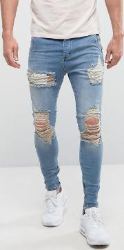 Super Skinny Low Rise Jeans  Light Wash With Distressing