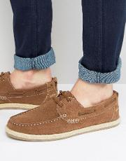 Boat Shoes In Tan Suede