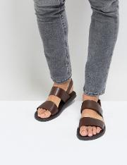 double strap sandals in brown leather