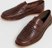 Wide Fit Leather Woven Loafer Shoes