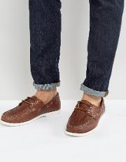 Woven Boat Shoes Chestnut