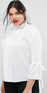 high neck bow detail blouse