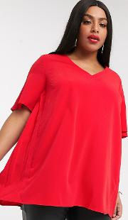 V Neck Blouse With Pleats