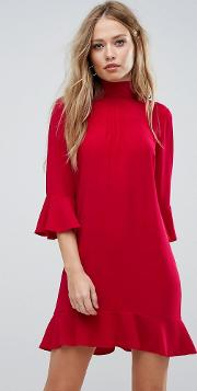 High Neck Dress With Frill Sleeves