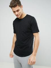 Longline T Shirt With Pocket And Curved Hem