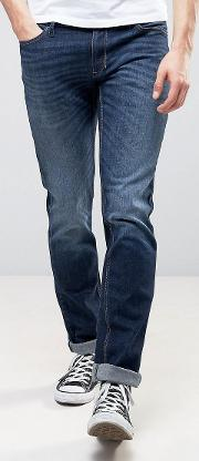 slim fit jeans in washed indigo