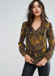 v neck sheer printed blouse