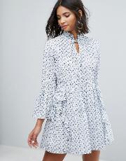 all over embroidered smock dress with frills