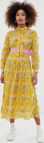 Belted Midi Dress With Pleated Skirt
