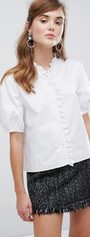 Blouse With Broderie Trim