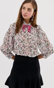 Blouse With Volume Sleeves And Velvet Bow