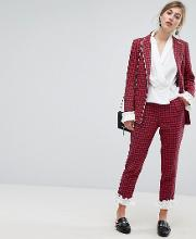 dogtooth trousers with frill