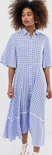 Exclusive Button Through Midi Shirt Dress With Full Skirt