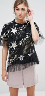 mesh blouse with all over glitter stars