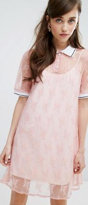 polo neck t shirt dress in lace with slip