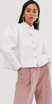 Shirt With Volume Sleeves And Faux Pearl Heart Buttons