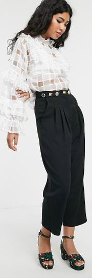 Tailored Cigarette Trousers With Ornate Waistband