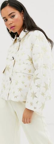 Trucker Jacket With Contrast Leopard Lining Gold Star Print