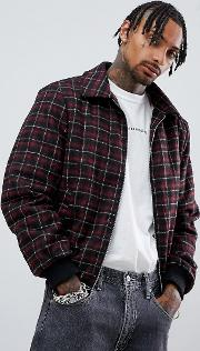 bomber in red check with borg lining