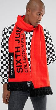 oversized statement scarf in red