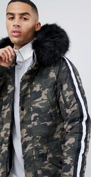 parka coat in camo with black faux fur hood