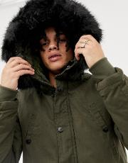 parka coat in khaki with black faux fur hood