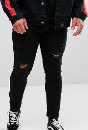 Plus Super Skinny Jeans  Black With Distressing