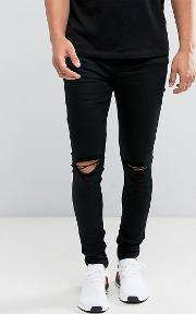 Super Skinny Jeans  Black With Knee Rips